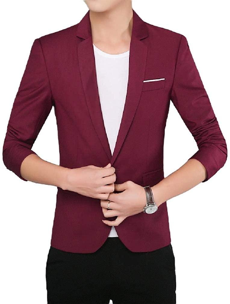 Men Oversized Comfort Soft 3/4 Sleeve Gentleman Blazer Sport Coat,Wine Red,Small