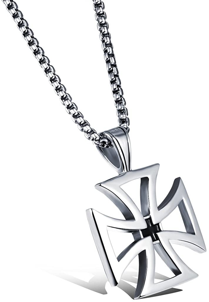 JSEA Hollow Out Design Stainless Steel Silver-tone Iron Cross Pendant Necklace