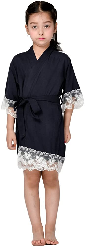 Mr & Mrs Right Flower Girl Kimono Cotton Robe Junior bridesmaid robe for Wedding Party with Lace Trim