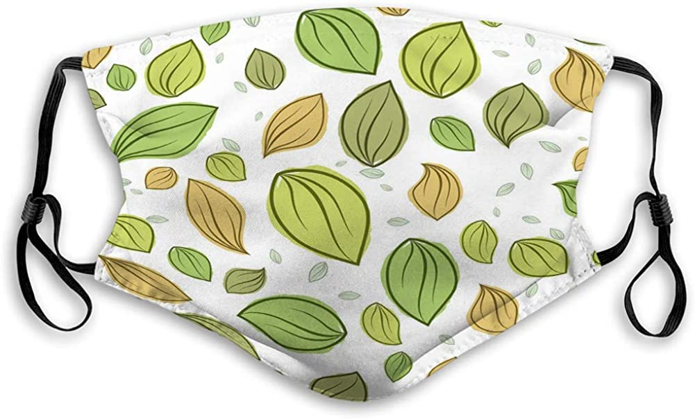 Cool Mouth Shield for Gardening Climbing Daily Use leaves pastel color pattern seamless Travel Cover