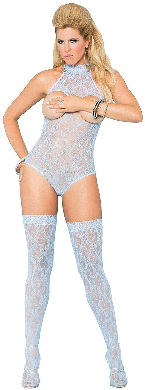 Elegant Moments Sexy Plus Size Full Figure Cupless Lace Teddy Lingerie Set- Fits Size 14-18