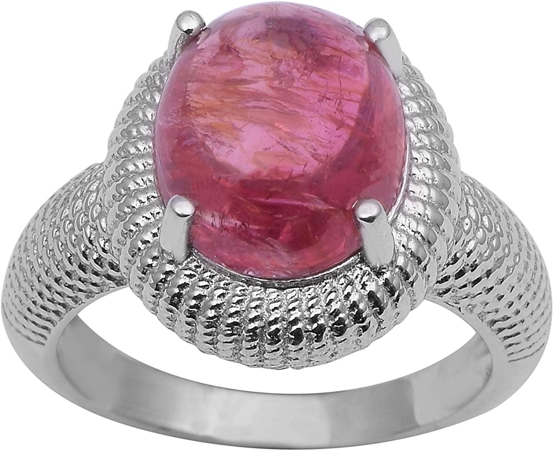 Oval Shape Pink Tourmaline Gemstone 925 Sterling Silver Wedding Ring Jewelry