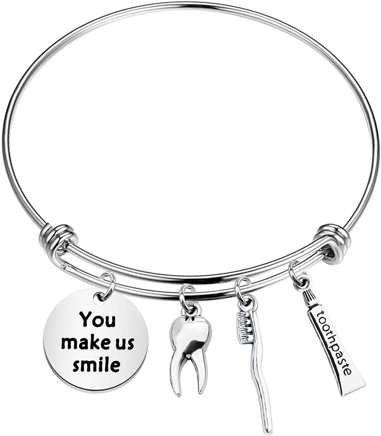 HOLLP Dentist Appreciation Gift Dental Hygienist Jewelry You Make Us Smile Bracelet with Tooth Toothpaste Toothbrush Charm