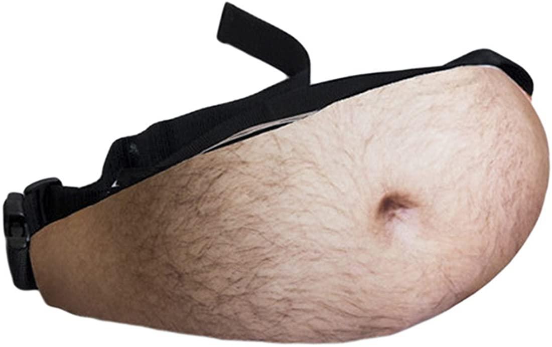 MineSha Dad Bag Fanny Pack Men Fake Beer Belly Waist Packs Unisex Waist Stash with Adjustable Belt