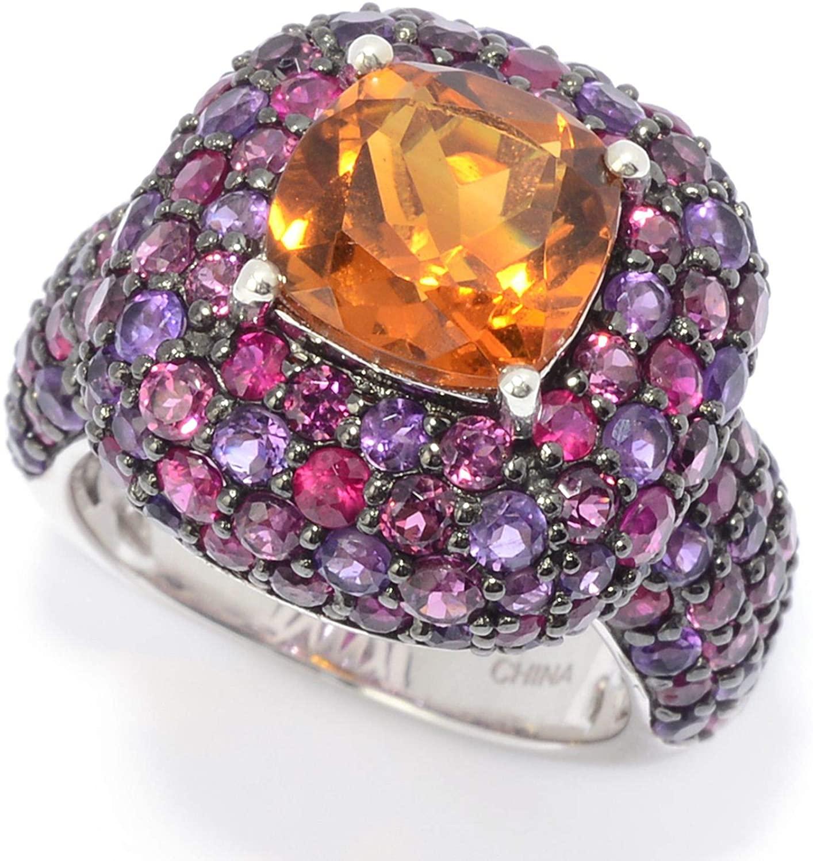 Victoria Wieck Collection 7.98ctw Cushion Cut Citrine & Multi Gemstone Ring