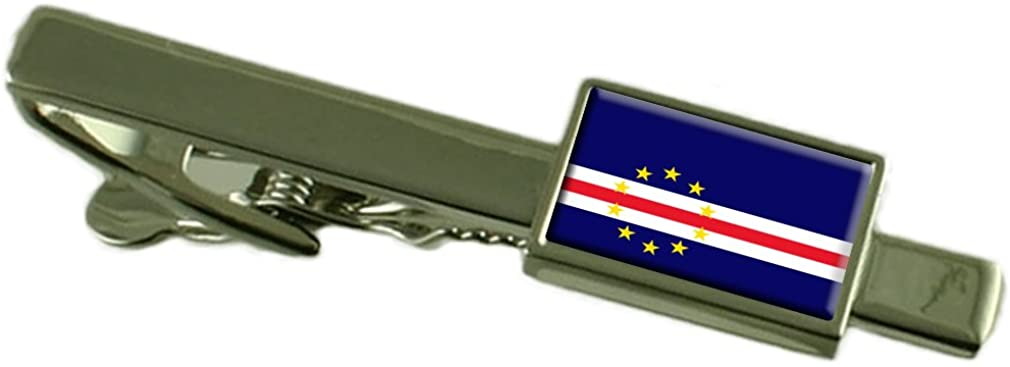 Select Gifts Cape Verde Flag Tie Clip Bar 55mm - Keepsake Engraved Personalized Case