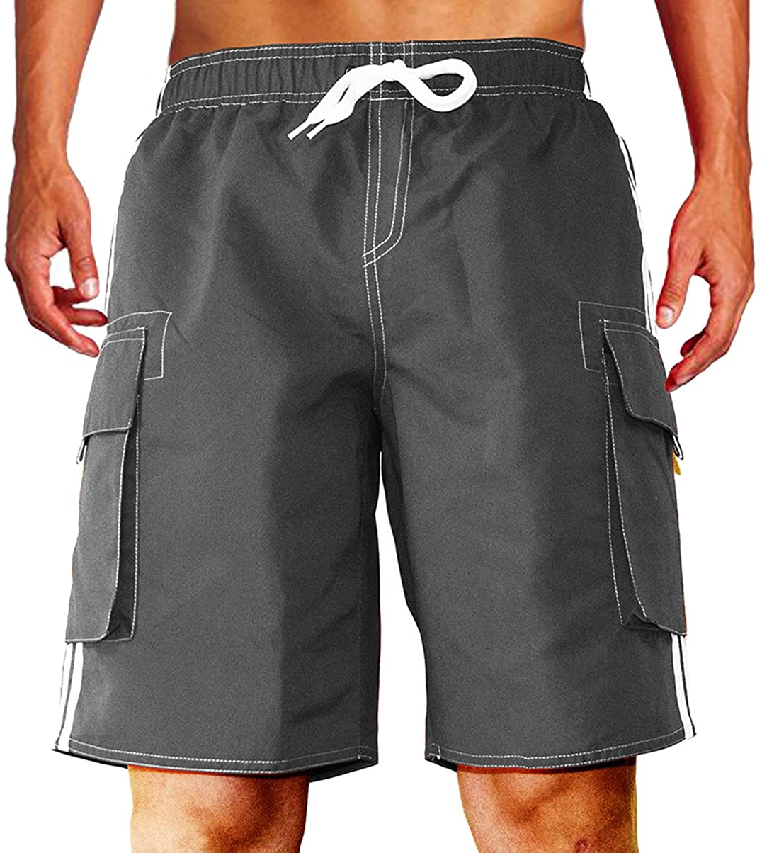 Dwar Mens Swim Trunks Beach Shorts with Mesh Lining with Cargo Pockets