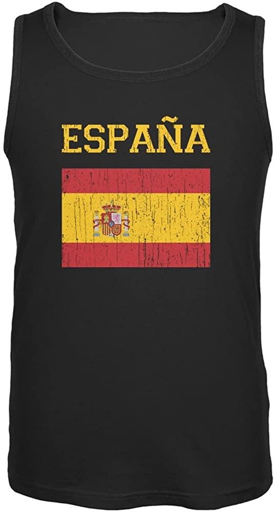 FIFA World Cup Distressed Flag Espana Black Adult Tank Top