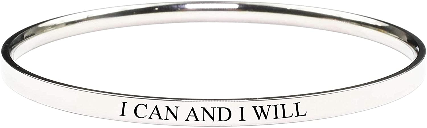 Pink Box Round Inspirational Bangle - I Can and I Will - Gold -