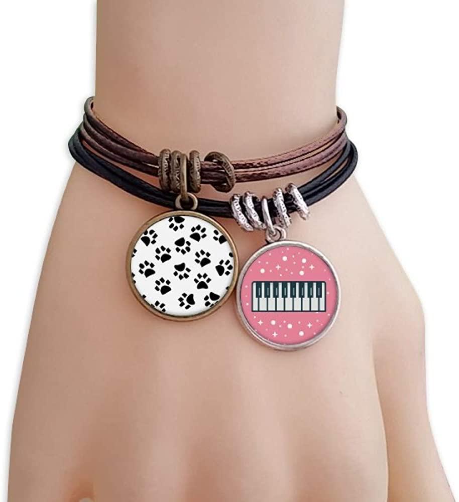 cold master DIY lab Cat Footprint Animal Art Grain Pattern Bracelet Rope Wristband Piano Key Music Charm