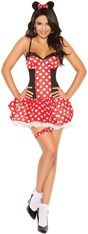 Zabeanco Miss Mouse 3 Pc. Costume Mini Dress, Head Piece and Leg Garter