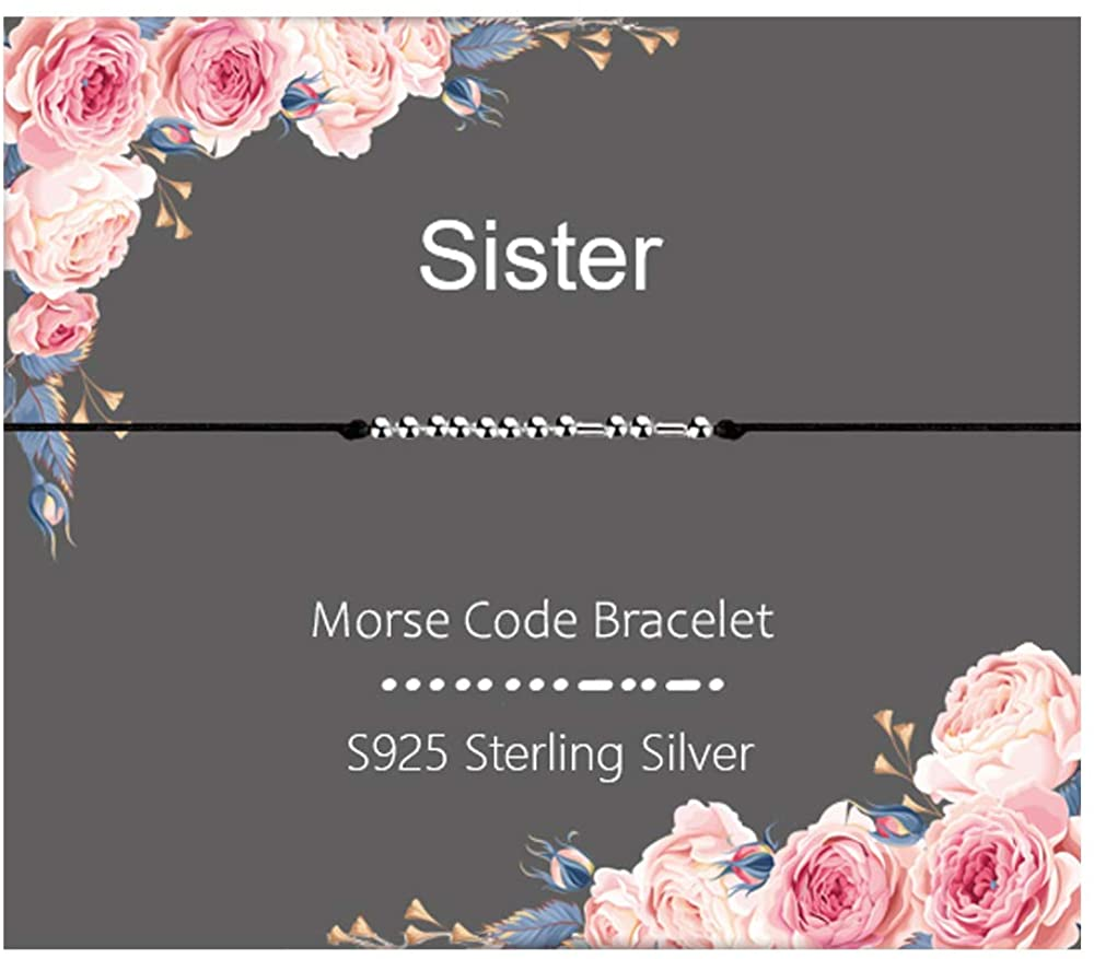 Sisters Gifts from Sister Morse Code Bracelet 925 Sterling Silver Beads on Silk Cord Friendship Bracelets Gifts for Sister, Soul Sister, Big Sister, Little Sister