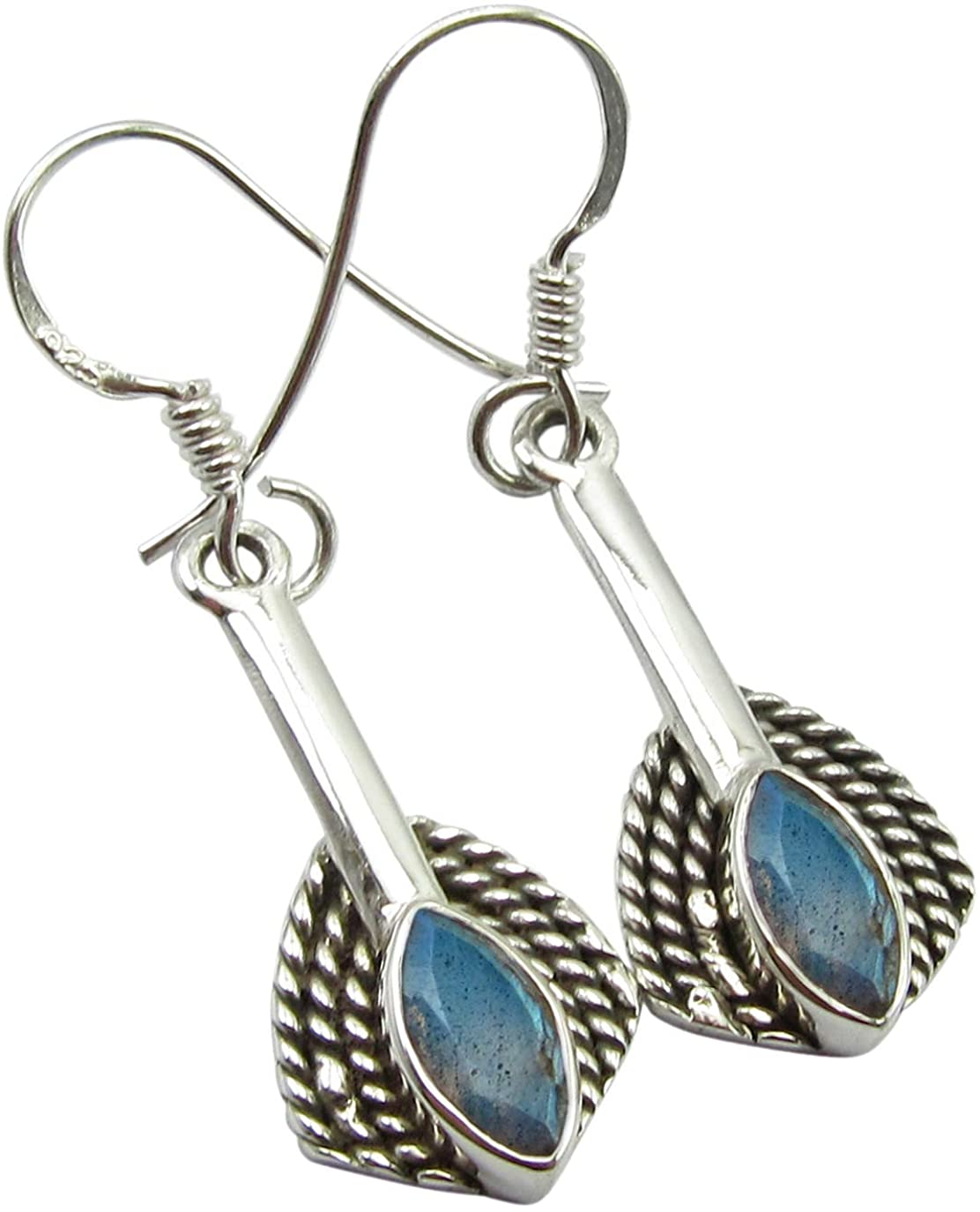SilverStarJewel 925 Solid Sterling Silver Blue Labradorite Earrings 1.5 Stone Jewelry