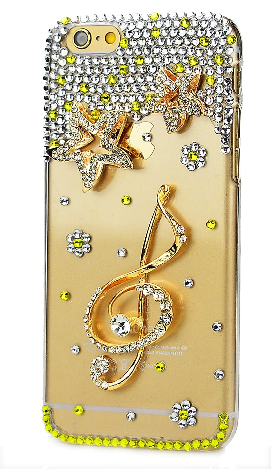STENES Google Pixel Case - [Luxurious Series] 3D Handmade Shiny Crystal Sparkle Bling Case With Retro Bowknot Anti Dust Plug - Stars Music Symbol/Yellow