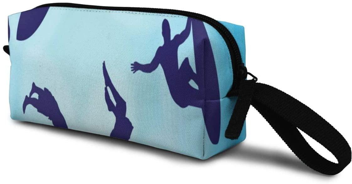 T-JH Surf Silhouettes Mini Makeup Bag,Portable Cosmetic Bag,Organizer,Toiletry Handbag,Medicine Bag,Storage Pouch for Women Purse