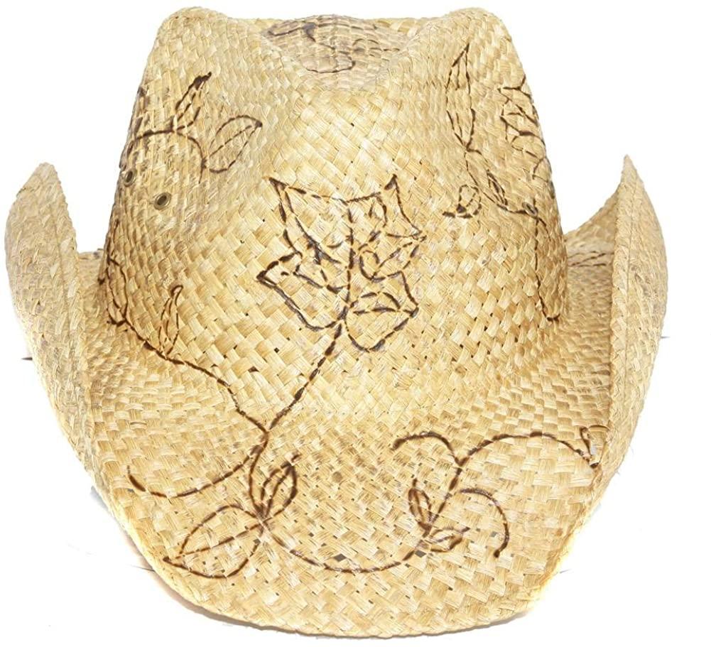 Peter Grimm BURNT ROSES Western Cowboy Straw Hat