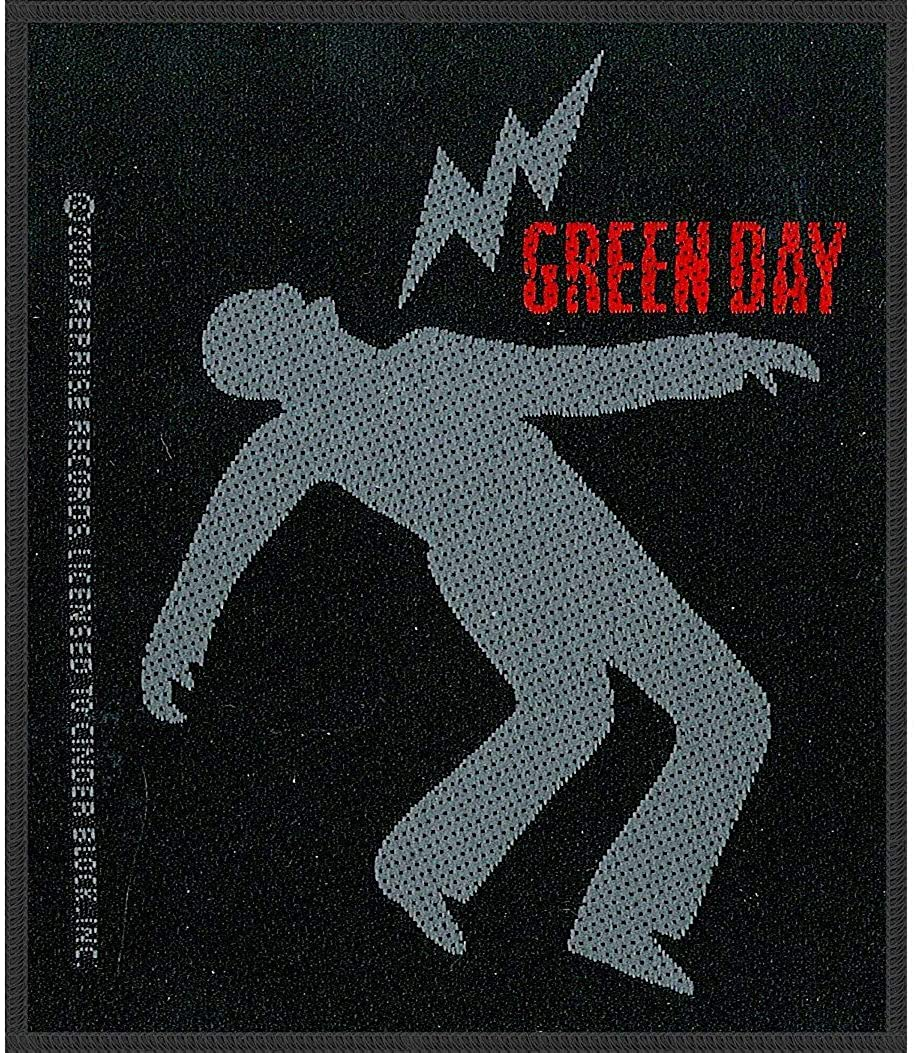Green Day Men's Lightning Bolt Woven Patch Black