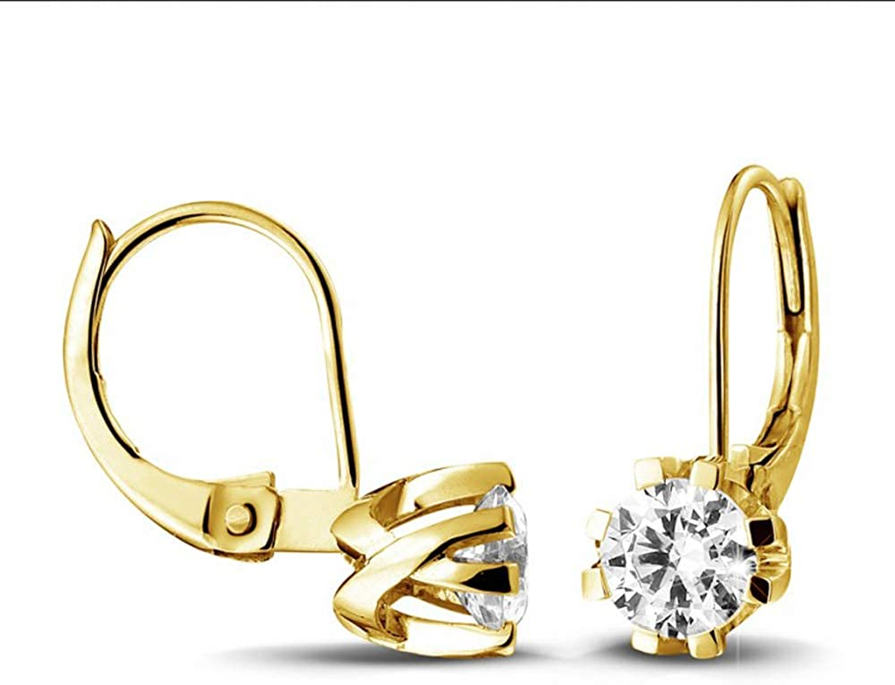 1.00 Carat Round Cut D/VVS1 Diamond Lever Back Solitaire Earrings In 14K Yellow Gold Plated With Eight Prongs