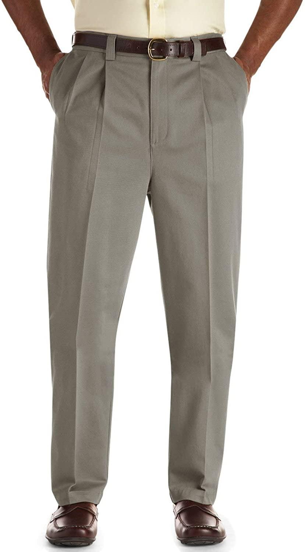 Oak Hill by DXL Big and Tall Pleated Premium Stretch Twill Pants, Olive, 58R 28