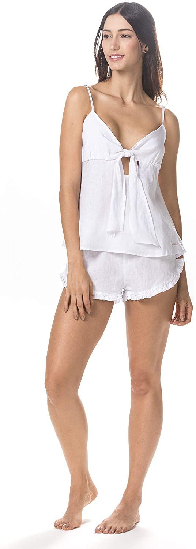 The Lazy Poet Rosie Linen White Pajama Set