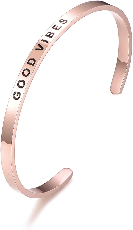 DODIY Mantra Quote Bracelet - Good Vibes - Inspirational Engraved Adjustable Mantra Cuff Bracelet - Silver, Gold, Rose Gold for Girls and Women