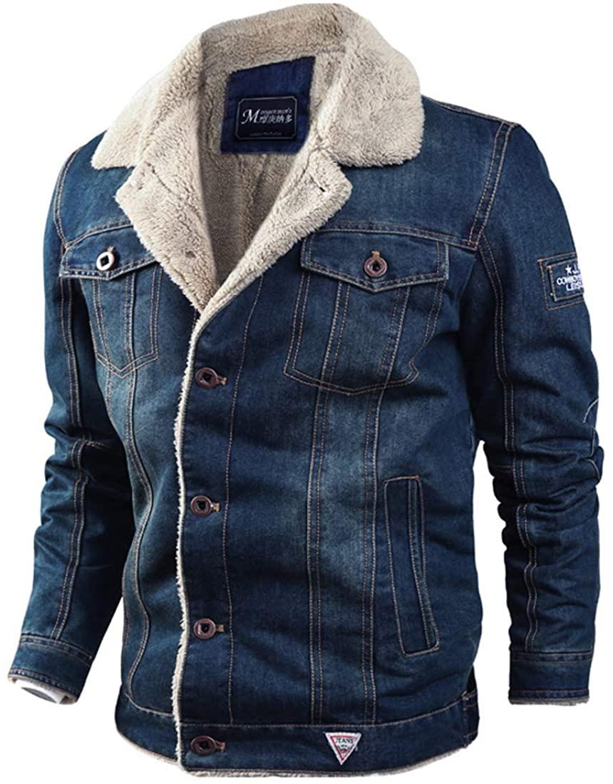 TDA Men's Casual Thicken Fur Collar Long Sleeve Bomber Denim Jackets Winter Warm Outwear