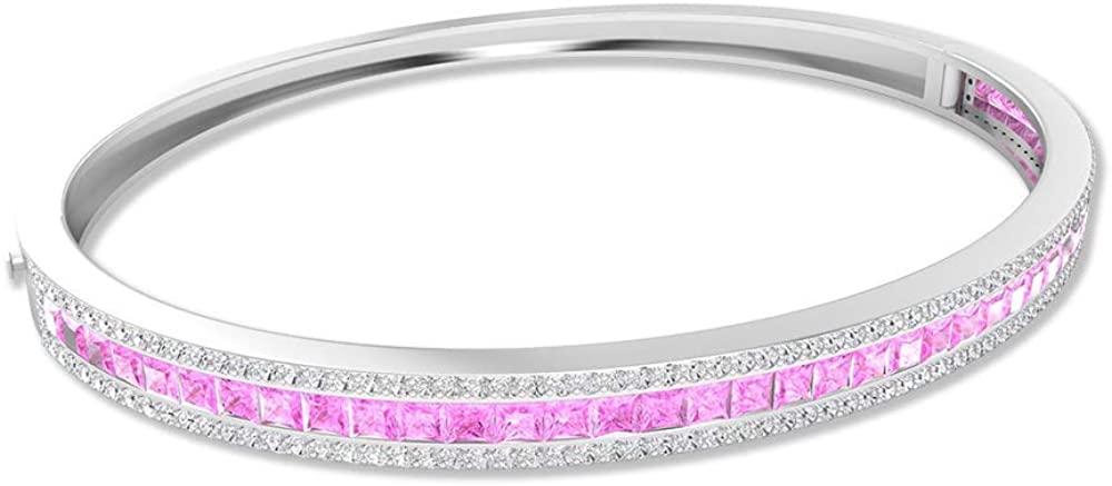 2Ct Pink Lab Created Stone Bangle Bracelet, SGL Certified Princess Cut Gemstone Bracelet, Moissanite Stackable Bracelet, Statement Bracelet