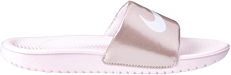 Nike Girls' Kawa Slide (GS/PS) Sandal, arctic pink/white - metallic/red/brown, 6Y Regular US Little Kid