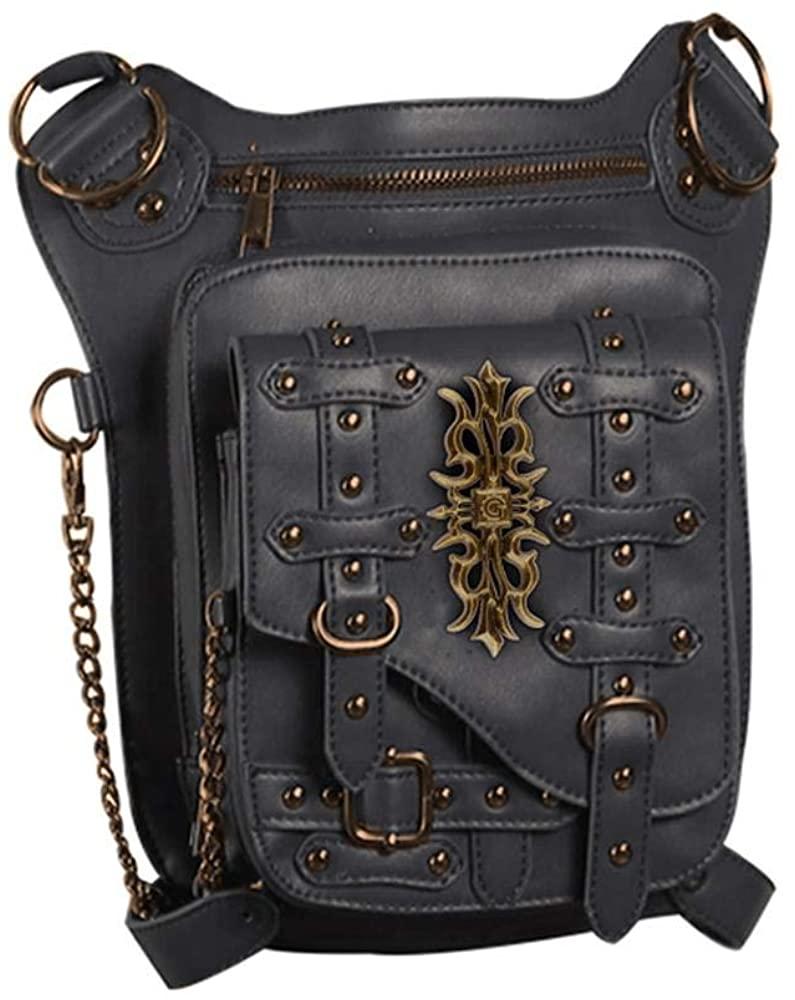 steel master Steampunk Waist Bags Goth Hip Holster Waist Bags PU Leather Women Bags