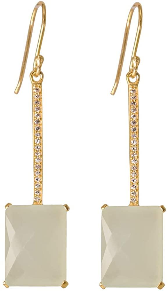 Beautiful And Stylish Dangle Earrings for Women, Girls, Cubic Zirconia Earrings, 925 Stearling Silver Earrings, Gemstone Bezel Earrings, Gold Plated Earrings,CZ Earrings For Women, Best Gifts For Her