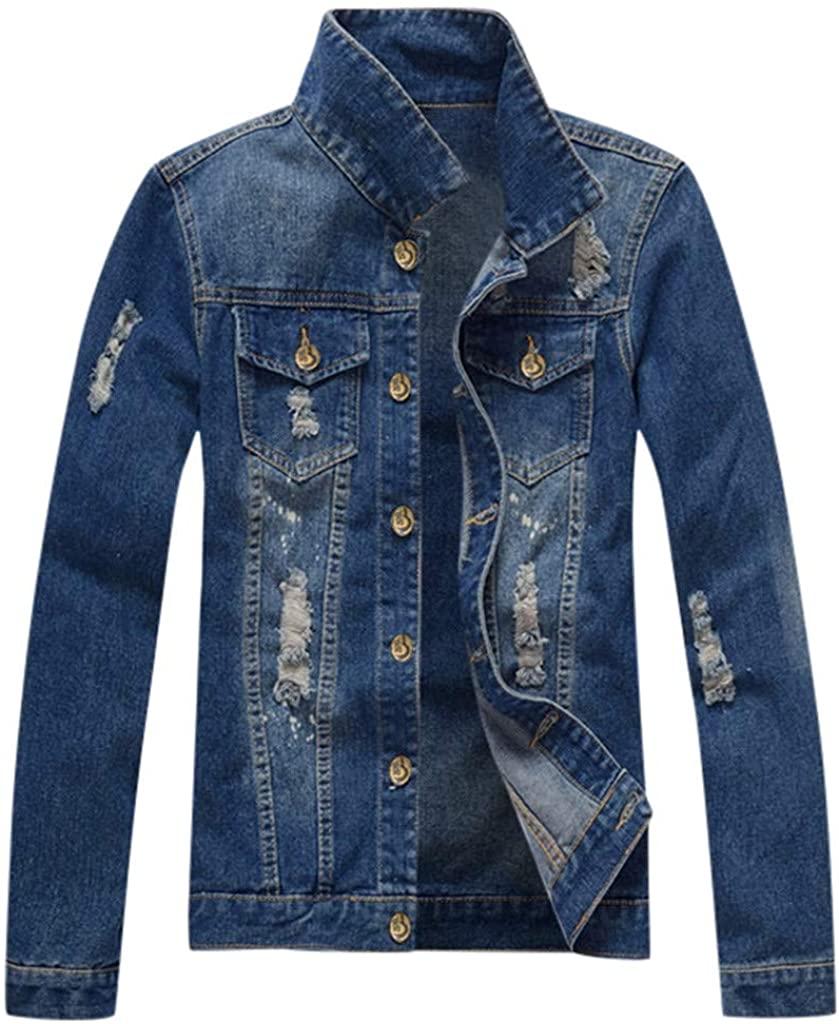 POQOQ Men's Turn-Down Shredded Denim Jacket Button-Down Outwear with Symmetrical Pocket XL-5XL