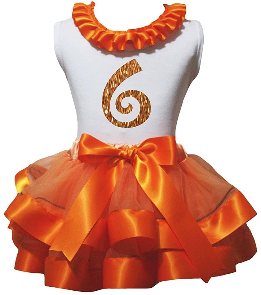 Petitebella Bling Orange 1 to 6 White Shirt Orange Petal Skirt Outfit