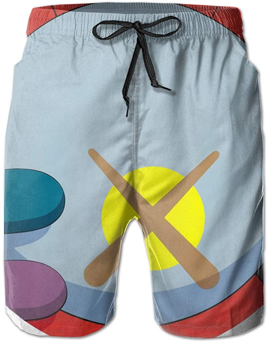 KAWS Mens Swim Trunks Shorts Casual Classic Fit Drawstring Summer Beach Shorts with Elastic Waist and Pockets