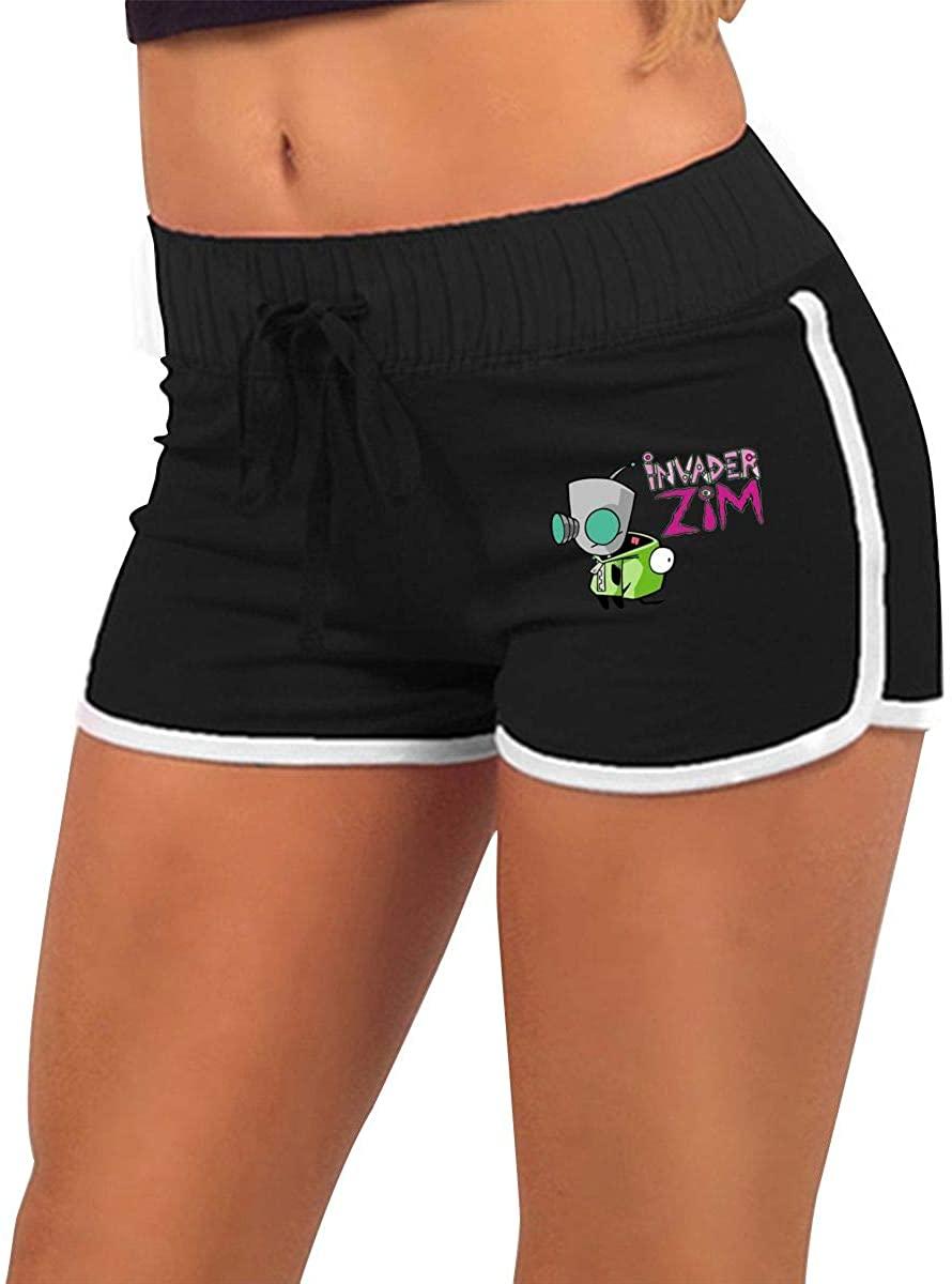 Women's Low Waist Hot Pants Shorts Sweatpants Invader Zim Gir Doom Logo Original Minimalist Style Black Black