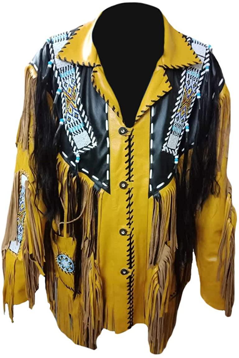 SleekHides Men's Cowboy Jacket with Fringes, Beads & Bones