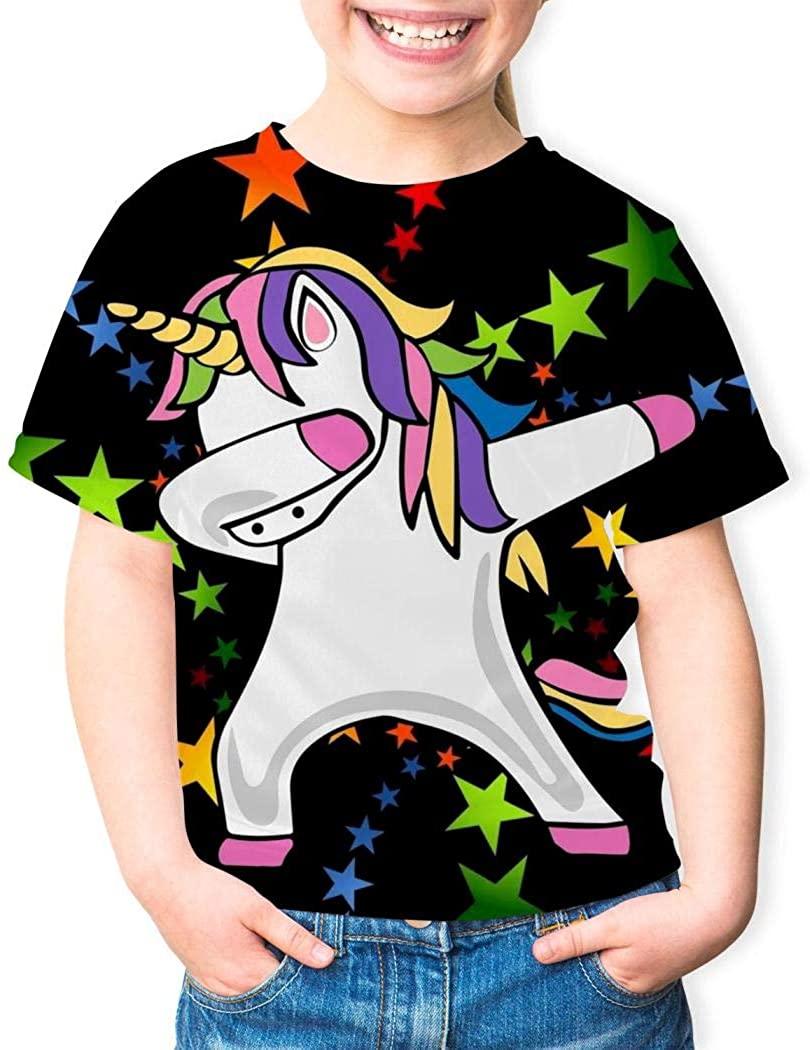 Youth Unicorn Dabbing Funny Dab Dance T-Shirts 3D Short Sleeve Tees for Girls Boys