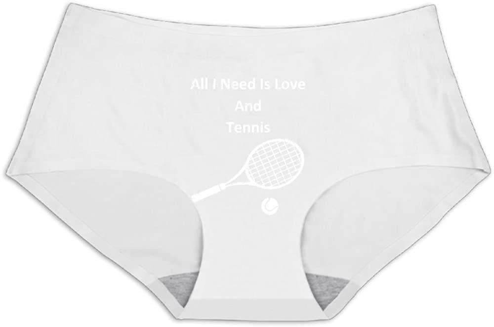 Womens Underwear All I Need is Love and Tennis Low Waist Seamless Ice Silk Panties Briefs
