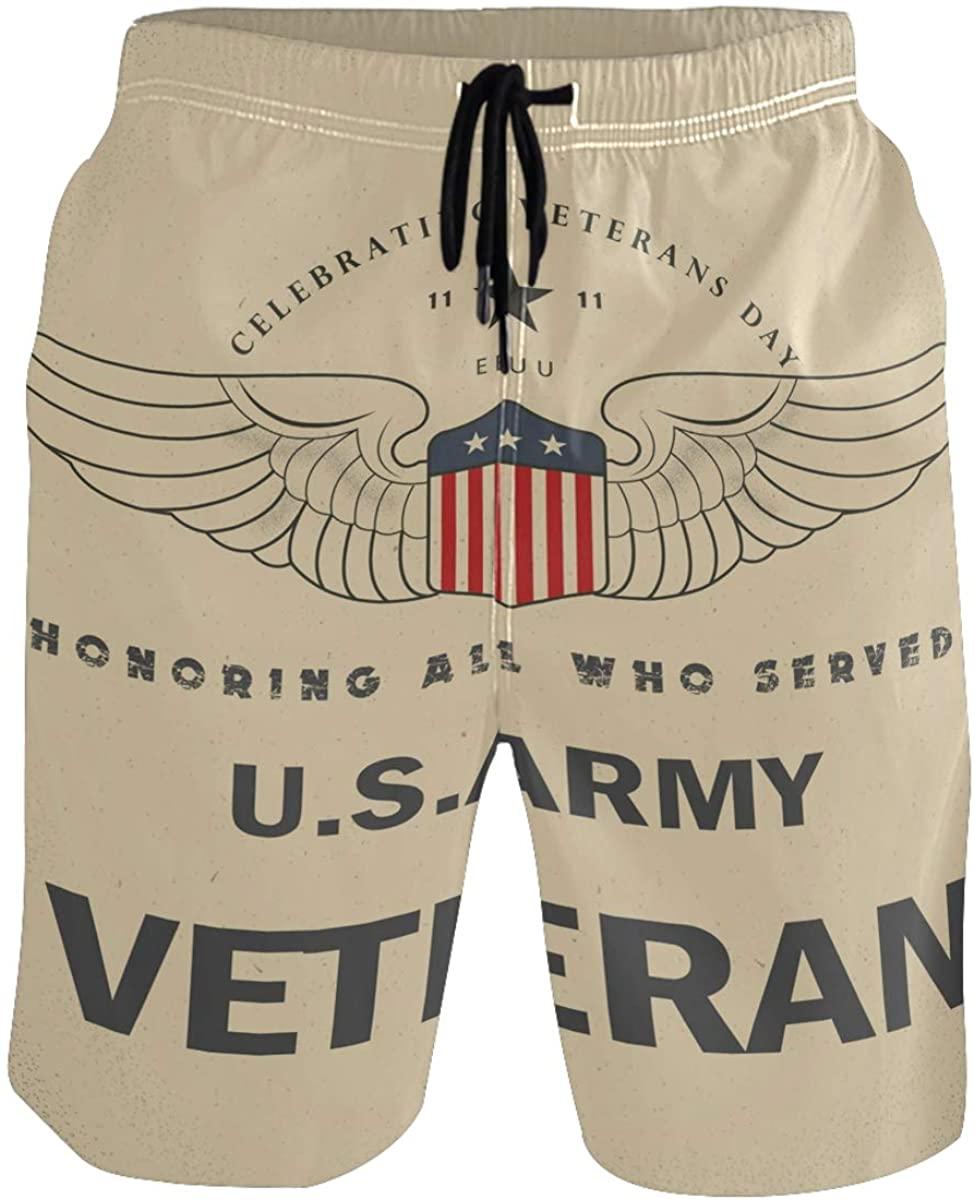 RunningBear Men's Swim Trunks - Happy Veteran Day Honor Beach Short Men Quick Dry Beach Swimwear