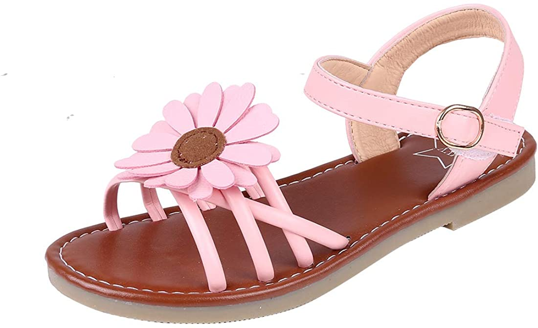 Litfun Kids Girls Cute Flower Open Toe Flat Strap Summer Sandals (Toddler/Little Kid/Big Kid)