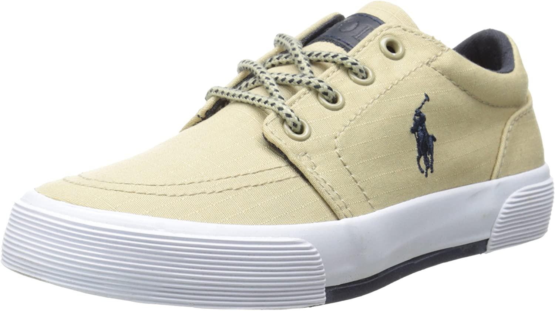 Polo Ralph Lauren Kids Boys' Faxon Ii Sneaker, Khaki/Navy, 13.5 M US Little Kid