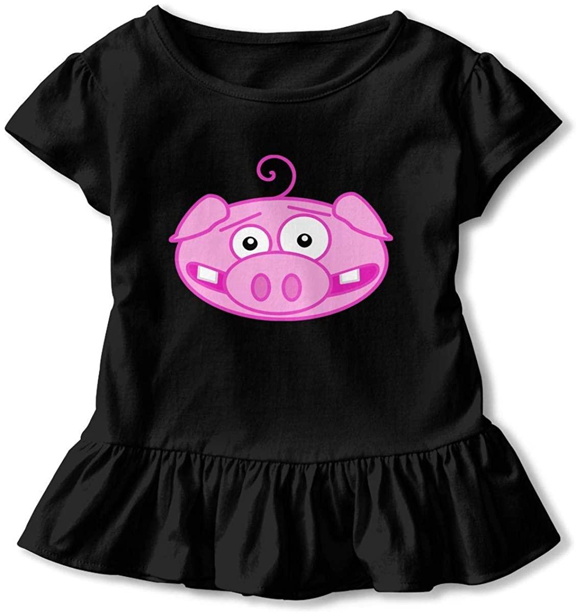 Funny-Pig-face 3D Tee Baseball Ruffle Short Sleeve Cotton T Shirts Top for Girls Kids Printed Dress
