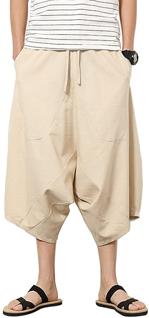 Banana Bucket Mens Patchwork Shorts Loose Linen Harem Pants