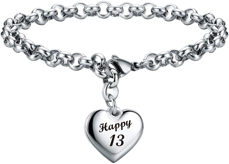 Birthday Gifts Bracelet Heart Charm Bracelet Birthday Gifts for Girl Women 7th 11th 13th 15th 16th 21st 30th 40th 50th 60th 70th 80th