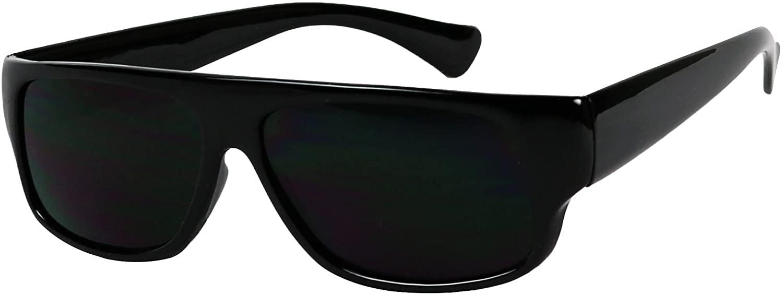 ShadyVEU Super Black Rectangular Sunglasses 100% UV Protection Dark Lens Vintage Flat Top OG Eazy E Gangster Shades