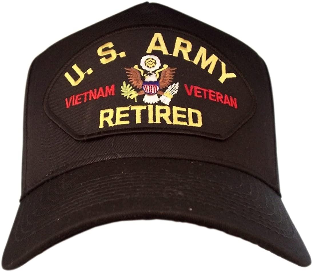 HMC US Army Vietnam Vet Retired Ball Cap, Black, Adjustable