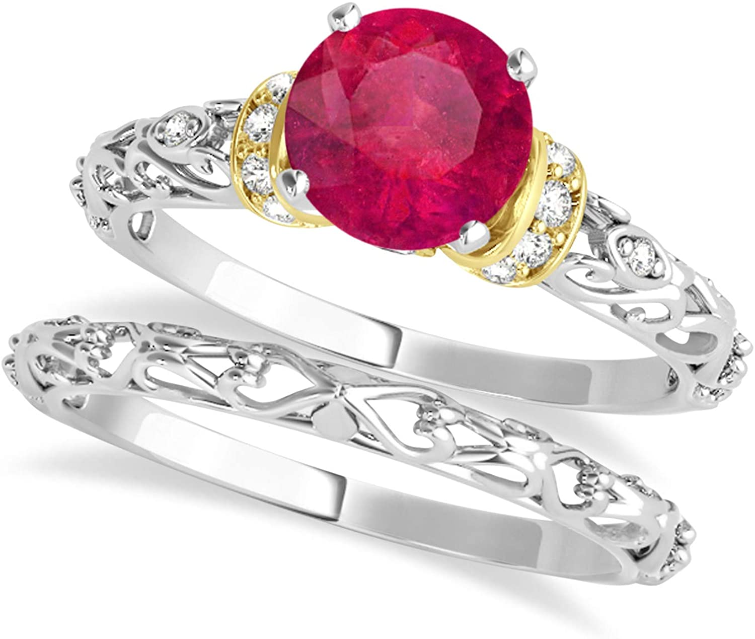 (0.87ct) 18k Two-Tone Gold Ruby and Diamond Antique-Style Bridal Set