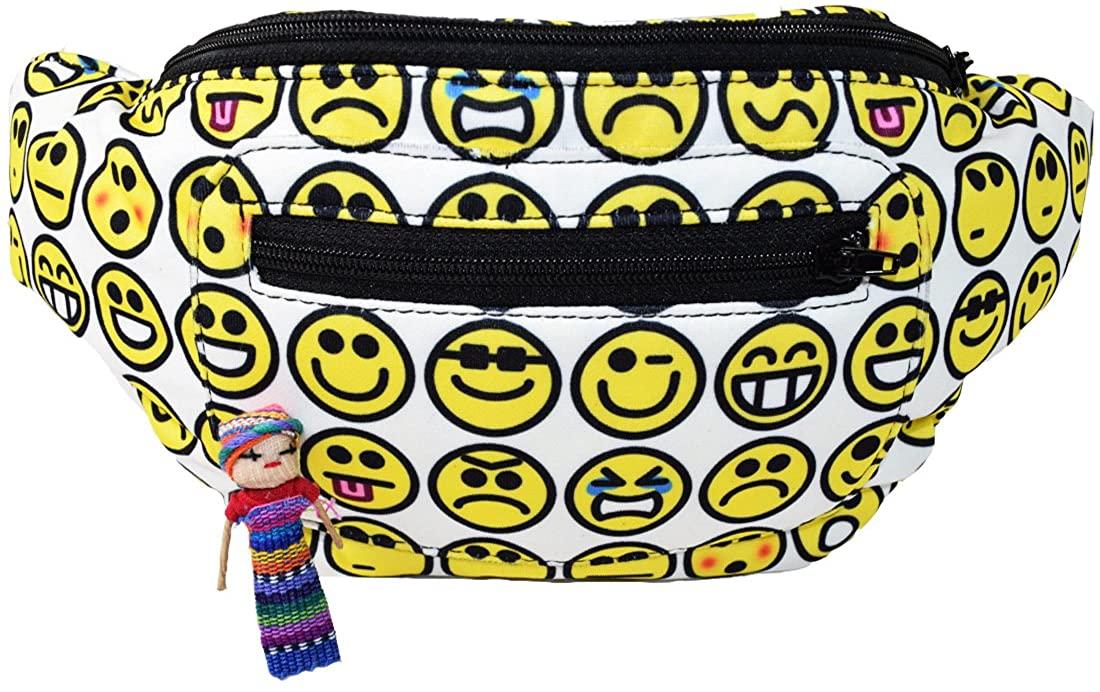 Emoji Party Fun in The Buns Fanny Pack, Boho Chic Handmade w/Hidden Pocket