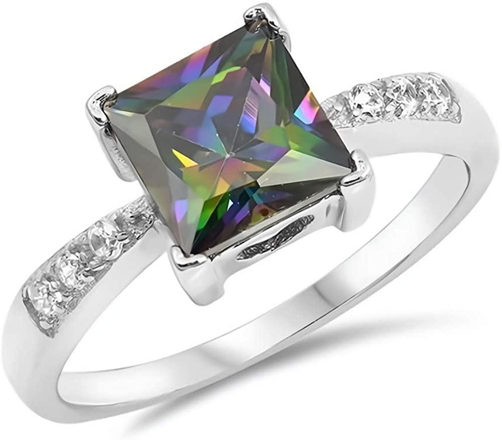 Glitzs Jewels 925 Sterling Silver CZ Ring (Rainbow & Clear)   Cubic Zirconia Jewelry Gift