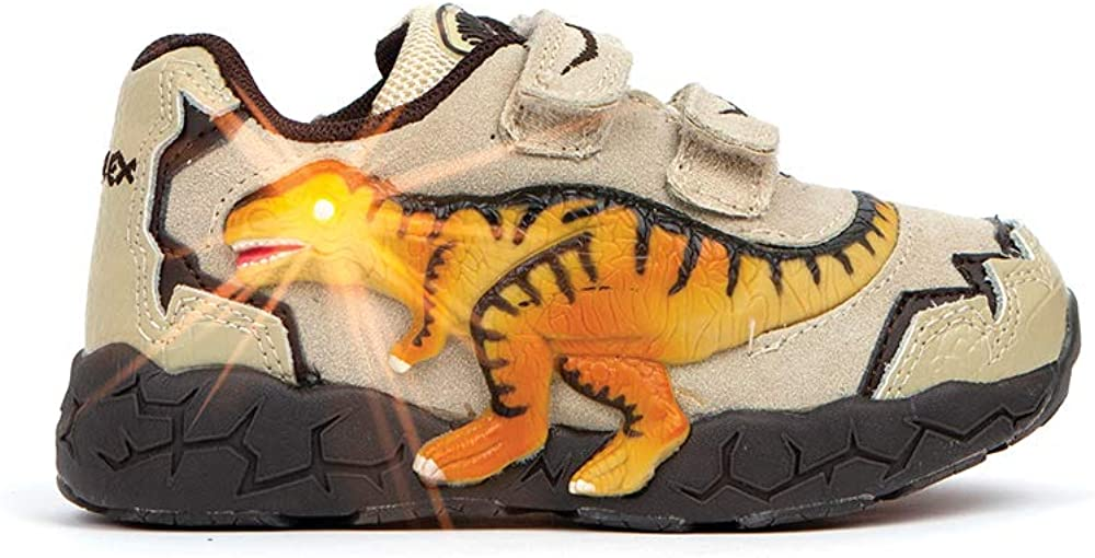 Dinosoles 3D T-REX Flashing LED Low-Top Shoes for Kids Children Boys Girls, Lightweight & Breathable Casual Running Sneakers Walking Shoes with Eye Blinking Dinosaurs, Tan
