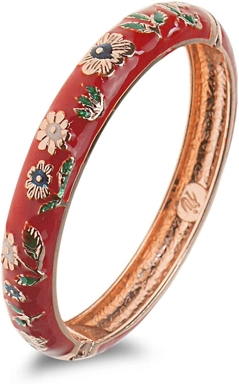 UJOY Girls Bracelets Jewelry Multi-Colors Sunflower Cloisonne Enameled 1.96'' 1.9'' Baby Bangle Spring Hinged 55D25